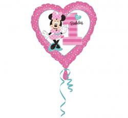 Balon foliowy w kształcie serca z myszką minnie na pierwsze urodziny