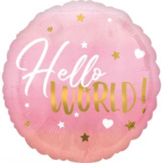"""Różowy balon foliowy z napisem """"hello world"""""""
