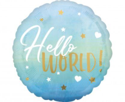 """Niebieski balon foliowy z napisem """"hello world"""""""