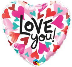"""Balon foliowy w kształcie serca z napisem """"love you"""""""