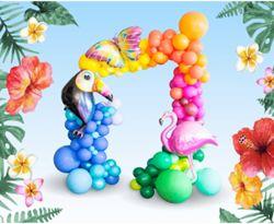 Zestaw kolorowych balonów z balonami w kształcie zwierząt