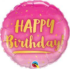 Różowy balon foliowy na urodziny