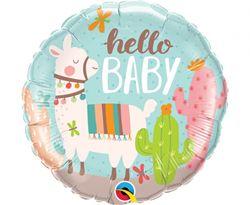 """Balon foliowy z rysunkiem lamy i napisem """"hello baby"""""""