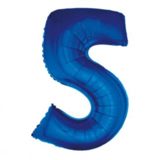 Granatowy balon foliowy w kształcie cyfry 5