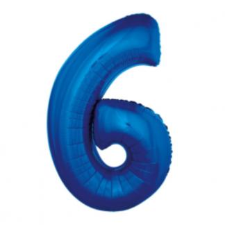 Granatowy balon foliowy w kształcie cyfry 6