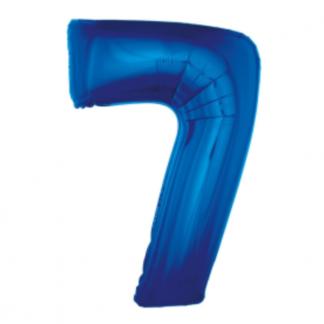 Granatowy balon foliowy w kształcie cyfry 7