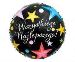 """Urodzinowy balon foliowy z napisem """"wszystkiego najlepszego"""""""
