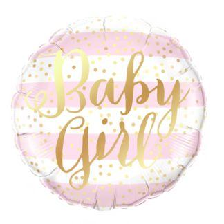 "Balon foliowy z napisem ""baby girl"""