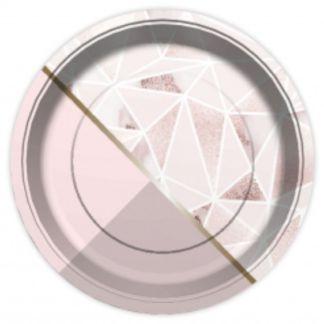 Różowy talerzyk papierowy ze wzorkiem