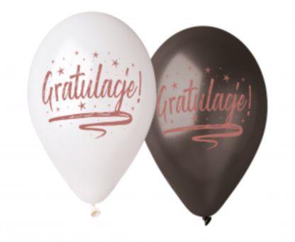 """Biały i czarny balony lateksowe z napisami """"gratulacje"""""""
