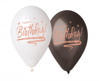 """Biały i czarny balony z napisami """"happy birthday"""""""