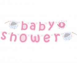 """Różowy baner z napisem """"baby shower"""""""