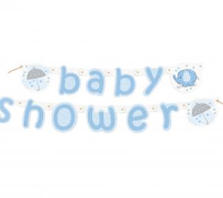 "Niebieski baner z napisem ""baby shower"""