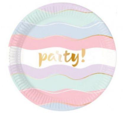 """Pastelowy talerzyk papierowy z napisem """"party"""""""