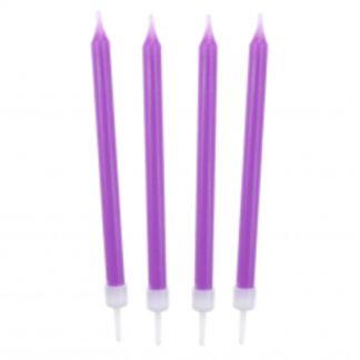 Liliowe świeczki na tort