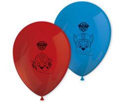 Czerwony i niebieski balony lateksowe z motywem Psiego Patrolu
