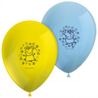 Żółty i niebieski balony lateksowe z świnką peppa