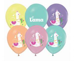 Kolorowe balony lateksowe z motywem lamy