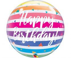 Balon foliowy na urodziny w kształcie kuli w kolorowe paski