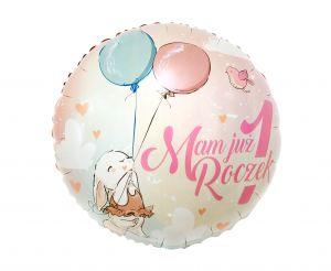 """Różowy balon foliowy z napisem """"Mam już roczek"""""""