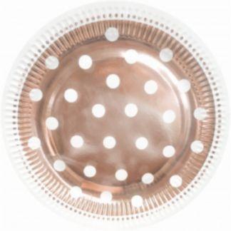 Różowe złoto talerzyk papierowy w białe kropki