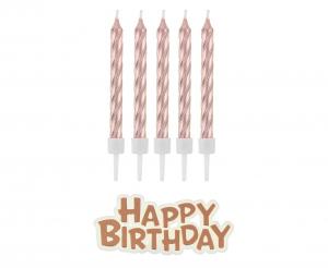 """Różowe złoto świeczki na tort i napis """"happy birthday"""""""