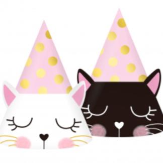 Czapeczki papierowe na urodziny z kotkami