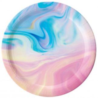 Pastelowy mix kolorów na papierowym talerzyku
