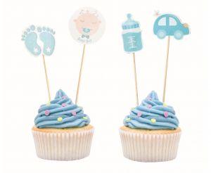 Toppery w muffinkach na baby shower chłopczyka