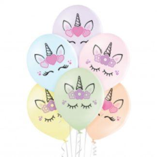 Zestaw pastelowych balonów lateksowych z motywem jednorożców