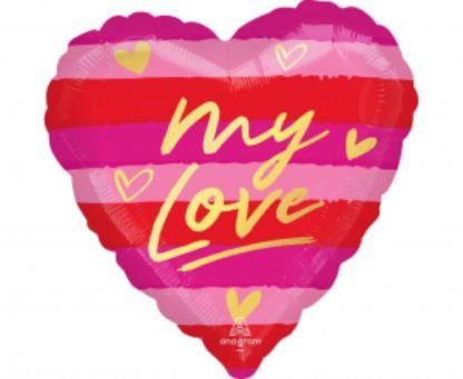 """Balon foliowy w kształcie serca z napisem """"my love"""""""