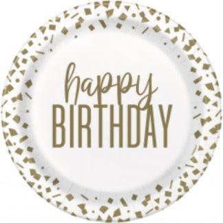 Papierowy talerzyk urodziny - biały z brązowymi wzorkami
