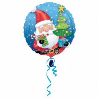 Balon foliowy ze świętym Mikołajem i choinką