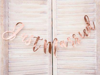 """Baner """"Just married"""" w kolorze różowego złota"""