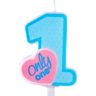 """Niebieska świeczka na tort w kształcie cyfry 0 i z napisem """"only one"""""""