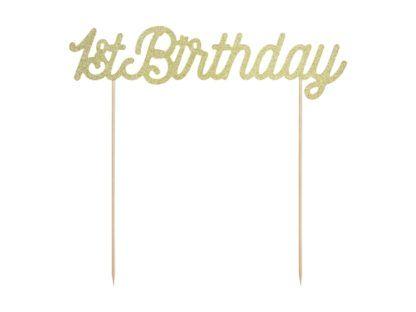 """Złoty Topper w kształcie napisu """"1st birthday"""""""
