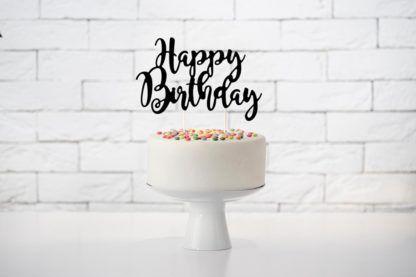 """Czarny Topper w kształcie napisu """"Happy birthday"""""""