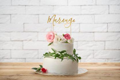 """Topper na tort w kształcie napisu """"mariage"""""""