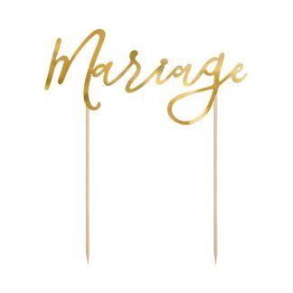 """Złoty Topper w kształcie napisu """"mariage"""""""