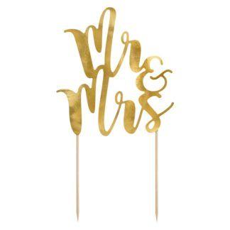 """Złoty topper w kształcie napisu """"Mr&Mrs"""""""