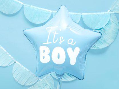 """Niebieski balon foliowy w kształcie gwiazdki z napisem """"it's a boy"""""""