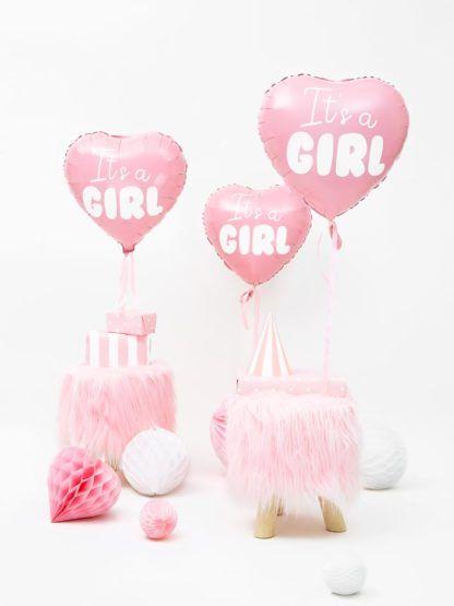"""Różowe balony foliowe w kształcie serca z napisem """"it's a girl"""""""