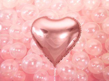 Różowe złoto balon foliowy w kształcie serca