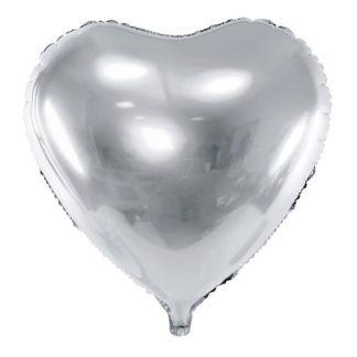 Srebrny balon foliowy w kształcie serca