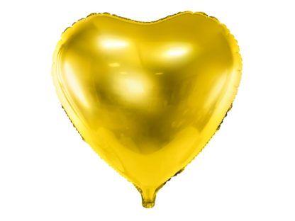 Złoty balon foliowy w kształcie serca
