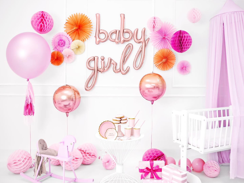 """Różowe złoto balony foliowe w kształcie napisów """"baby"""" i """"girl"""""""