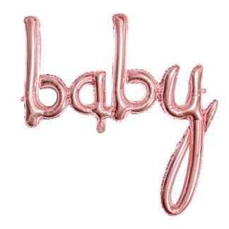 """Balon foliowy w kształcie napisu """"baby"""" w kolorze różowego złota"""