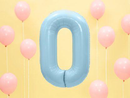 Niebieski balon foliowy w kształcie cyfry 0