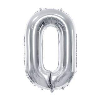 Srebrny balon foliowy w kształcie cyfry 0