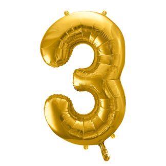 Złoty balon foliowy w kształcie cyfry 3